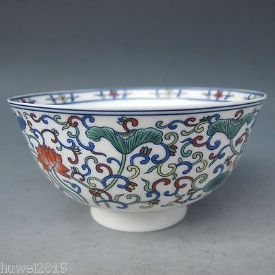 Chinese Old porcelain Hand Painted Lotus Bowl Qing Dynasty Qianlong Mark