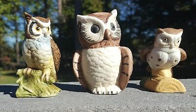 "Lot of 3: Taiwan Vintage PORCELAIN OWLS FIGURINES 2.5"" - 3"" Tall UCG Vtg Decor"