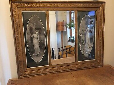 Large 19th Century Foliate Gilt Wood Wall Mirror Picture Antique