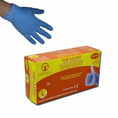 Top Glove Powder Free Disposable Blue Nitrile Gloves AQL 1.5 Box of 100 (Small)