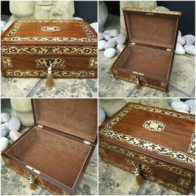Terrific 19C Victorian Rosewood Antique Document/Jewellery Box - Fab Interior