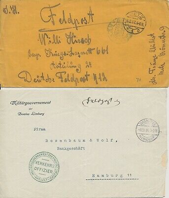 Group of 2 German Military World War I covers with censor stamp