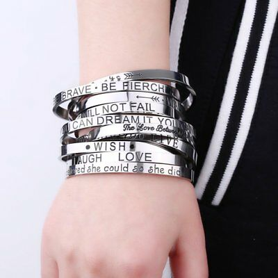 DIY Personalized Stainless Steel Silver Letter Love Cuff Bangle Bracelet Family
