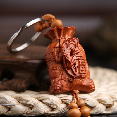 Pixiu Money Bag Wood 3D Carving Chinese Fengshui Pendant Key Chain Keyring Craft