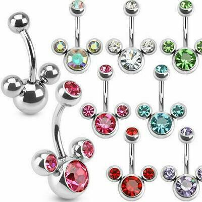 Triple Bubble Belly Bar Piercing Navel Ring with CZ Gems Surgical Steel