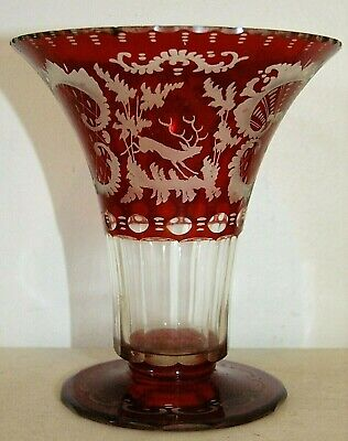 Glass Vintage Bohemian Cut-to-clear Cranberry Cased Glass Lidded Candy Dish Bowl Grade Products According To Quality Pottery & Glass