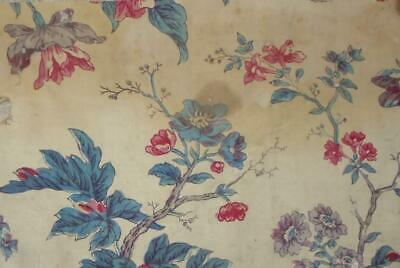 BEAUTIFUL TIMEWORN FRAGMENT EARLY 19th CENTURY FRENCH BLOCK PRINT CHINTZ  231