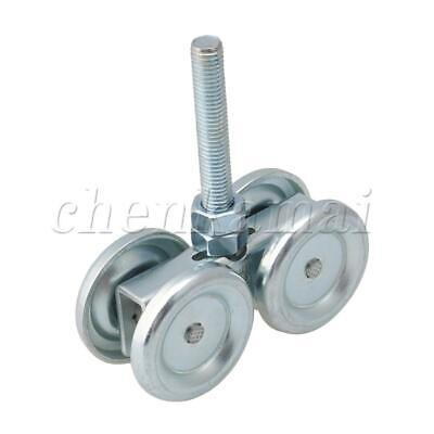 Silver Home Double Wheel Steel Rail Hanging Trolley Sliding Track Roller H3-2