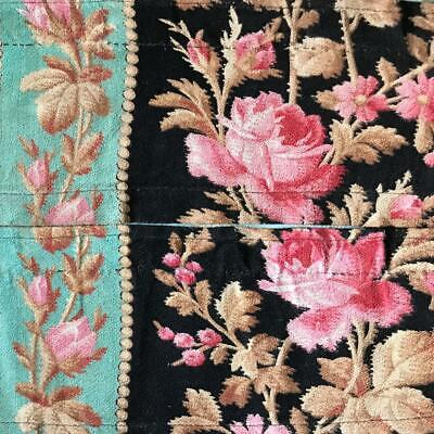2 BEAUTIFUL PIECES 19th CENTURY FRENCH NAPOLEON III LINEN ROSES c1870s 236.