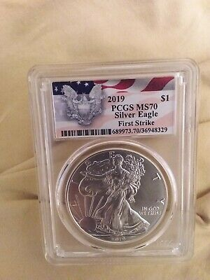 2019 1oz Silver Eagle PCGS MS70 First Strike Eagle Flag Label