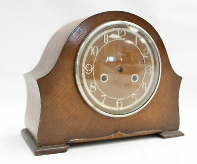 A Vintage Mid Century Wind Up Enfield Teak Mantle Clock Spares / Repairs - G26