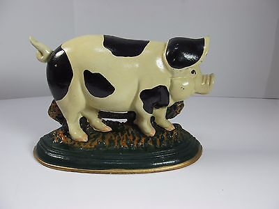 Vintage Primitive Heavy Cast Iron Pig Door Stop Farm Decor Country White & Black