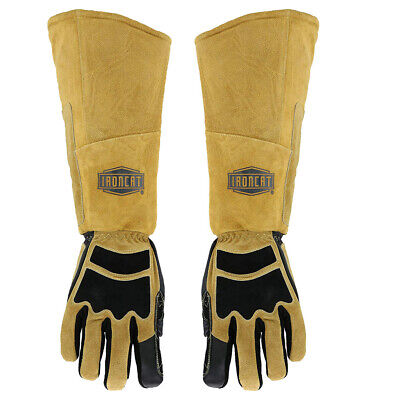 Ironcat Stick Welding Gloves Cowhide Leather Right & Left Hand Heat Resistant
