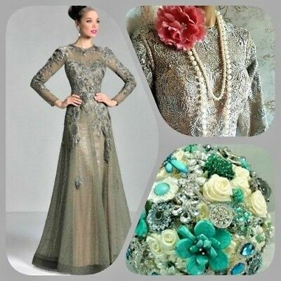Stacees green vtg Victorian lace 20s deco gatsby wedding evening prom dress 10