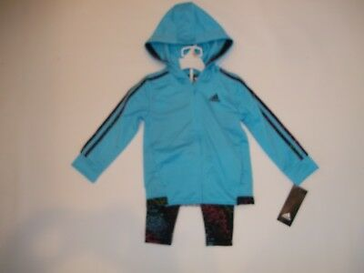ADIDAS 2 pc OUTFIT Set Hooded Jacket LEGGINGS Pants Toddler girls 2T Rt $54 NEW