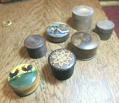7 Little Antique And Vintage  Turned Wood Round  Boxes Rings Trinkets