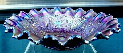 "NORTHWOOD""MINT""ANTIQUE""c1910""CARNIVAL GLASS""BLUE STIPPLED""GOOD LUCK""8.5""PCE BOWL"