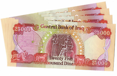 (4) 25,000 Iraqi Dinar Notes 100,000 Iqd Uncirculated Authentic