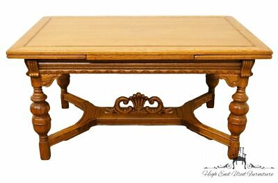 "1920's Antique Jacobean Gothic Revival 96"" Dining Table with Draw Leaves"