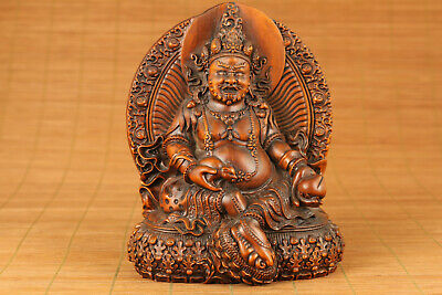 Antique old boxwood hand carved dharma king buddha statue netsuke ornament