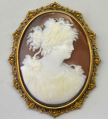 Huge Antique 9K Solid Gold and Detailed Shell Cameo Filigree Pendant/Pin