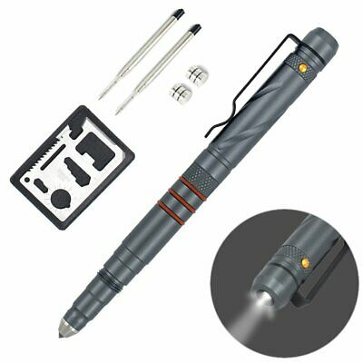 Aotedor EDC Tactical Pen Flashlight - Window Glass Breaker, Ballpoint Pen + 2 In