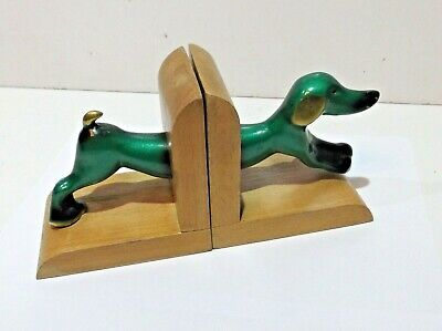 Vintage c1950s Brass & wood Dachshund type Dog Bookends