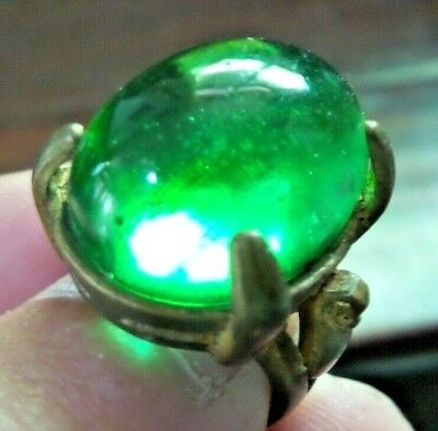 Antique Green Glass Islamic Bronze Ring