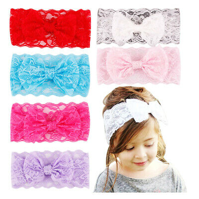 Turban Hairband Girls Lace Bow Knot Headwrap Soft Cute Baby Headband Accessories