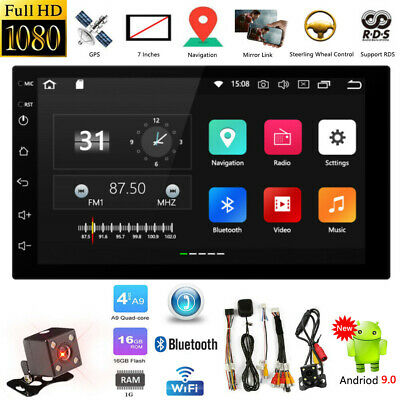 7'' Android 9.0 Double DIN 16G Quad Core GPS Bluetooth Car Stereo MP5 Player FM