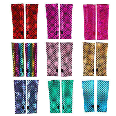 Sexy Mermaid Fish Scale Pattern Fingerless Long Gloves Arm Sleeves Adult Mittens