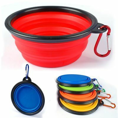 Pet Dog Cat Collapsible Feeding Bowl Portable Silicone Water Dish Camping Cup