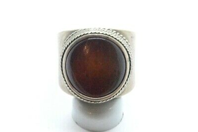 Post Medieval period German Silver ring with amber gemstone. 18 Century