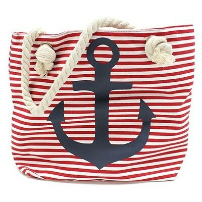 Large French Nautical Style Red & White Striped Beach Bag / Overnight Bag - BNWT