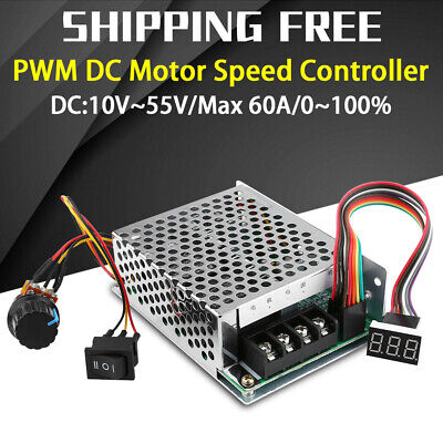 60A PWM Brushed DC Motor Speed Controller CW CCW Reversible Switches 12V/24V/48V