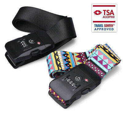 New TSA Suitcase Cross Luggage Strap Belt Baggage Secure Travel 3 Dial Safe Lock
