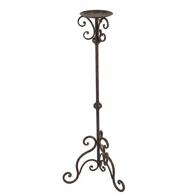 G1183: Large Cottage Candlesticks, Iron Candlestick, Antique Brown