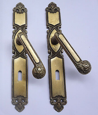 Lot 2 Original Vintage Solid Brass Door Lever Handles on  Backplates