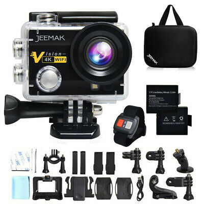 "JEEMAK Sports Kamera Action Cam 4K WIFI HD 16MP Wasserdichte 2"" LCD Helmkamera"