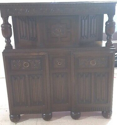 Gothic Antique Style Carved Oak Court Cupboard Sideboard Buffet - A27