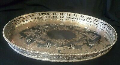 Vintage Viners of Sheffield Large Oval Silver Plate Gallery Tray 39 x 25cm