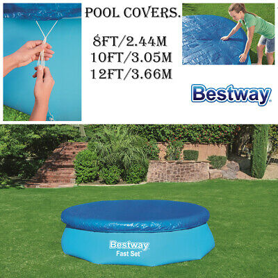 Bestway Round 8Ft 10 Ft 12Ft Fast Set Family Swimming Pool Sheet Cover Tarpaulin