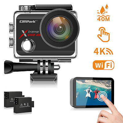 Campark Action Cam 4K Sports Camera WiFi Helmkamera Wasserdichte 170° Weitwinkel