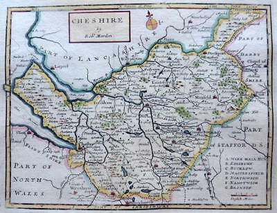 CHESHIRE CHESTER  BY ROBERT MORDEN  c1720  GENUINE ANTIQUE COPPER ENGRAVED MAP