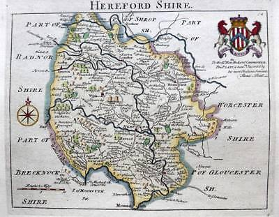 HEREFORDSHIRE  HEREFORD    BY JOHN ROCQUE GENUINE ANTIQUE MAP  c1769