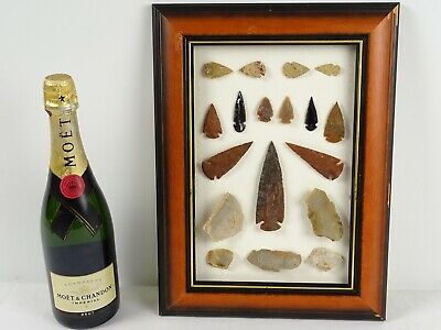Mounted Collection of Knapped Stone Tools inc Arrow Tip & Spear Heads Blades