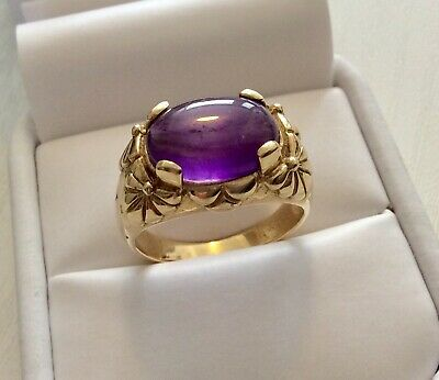 Stunning Very Heavy Solid 9CT Gold Cabochon Amethyst Solitaire Ring - Size T