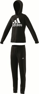 adidas Performance Kinder Trainingsanzug Hooded Polyester Tracksuit schwarz weiß