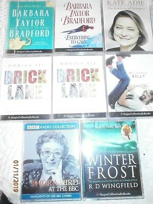 Audio Books Bundle 8 Cassettes Barbara taylor Bradford,monica ali,kate adie,hird