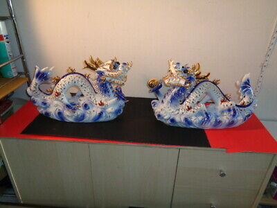 """Vintage Large Pair of Blue,White with Gold Accent Chinese Dragon Statues (17"""")"""